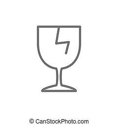 Vector broken glass, fragile delivery line icon.