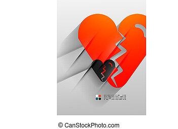 Vector broken heart paper 3d design