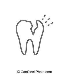 Vector broken tooth, dental problem line icon.