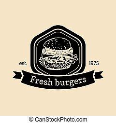 vector, broodje, voedingsmiddelen, ouderwetse , teken., vasten, hand, hamburger, eatery, straat, hipster, retro, label., getrokken, fris, emblem., logo., bistro