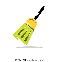 Vector Broom Cartoon Illustration.