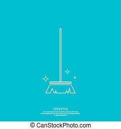 vector, brooms., icono, mano