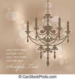background with chandelier - Vector brown background with ...