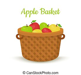 Vector brown basket with apples. Bright fruits