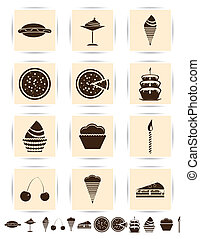 Vector brown cake icons set.