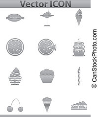 Vector brown cake icons set. Cup and cafe icon