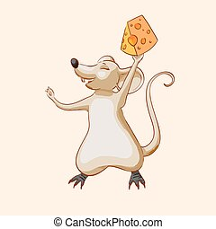 vector brown cartoon mouse holding cheese and have fun. Children's character laughs. Happy funny animal, cute character for stickers, games, educational cards, toys, clothes, notebooks, book and print. Illustration of the hand, drawing, sketch or art.