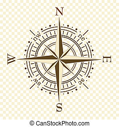 brown compass - vector brown compass