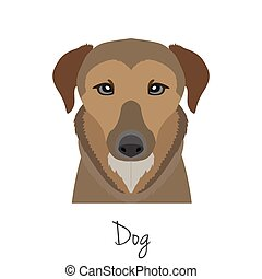 vector brown dog head isolated. Flat style, cartoon object