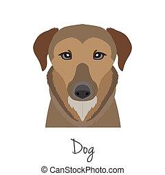 vector brown dog head isolated. Flat style, cartoon object