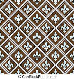 Vector Brown Fleur De Lys Pattern
