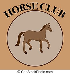 Vector brown label for horse club.