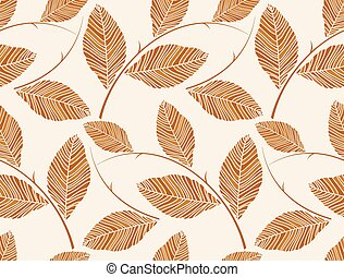 Vector - Brown seamless leaves wallpaper pattern