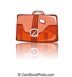 Vector Brown Suitcase Isolated on White Background