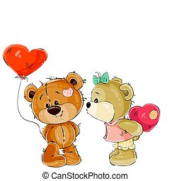 Vector brown teddy bear holding in its paw a red balloon in the shape of a heart, his girlfriend is going to kiss him