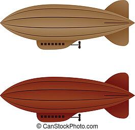 vector brown vintage airship zeppelin