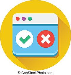 Vector Browser Accept Decline Icon