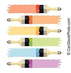 Vector brush multicolored set