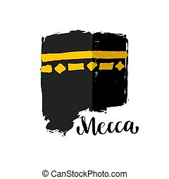 Vector brush painted Islamic symbol kaaba in Mecca. Icon for...