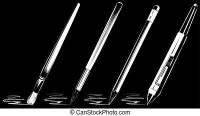 Vector brush set on black background