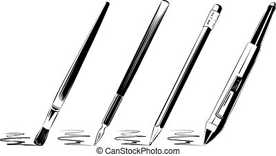 Vector brush set on white background