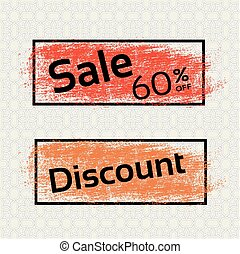 Vector brush stroke, labels with black text of Sale and Discount. Offer with redand orange stratched spot.