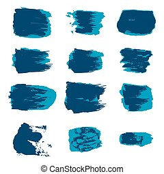 Vector brush stroke paint abstract on white background set hand