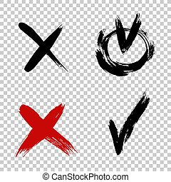 Vector brush stroke ticks. Check mark and x sign. Yes no graphic symbols. Voting for and against concept. Grunge cross. Brush strokes distressed texture.