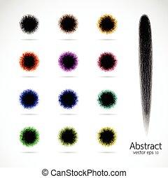 Vector brush strokes on white background