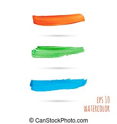 Vector brush strokes. red, green, blue. template for banner,...