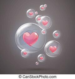 Vector Bubbles with Hearts