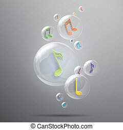 Vector Bubbles with Music Notes