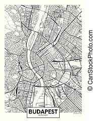vector, budapest, ciudad, detallado, mapa, cartel