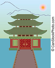 vector buddhist temple on water with mountains in the background