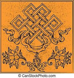 vector, budismo, eterno, nudo, loto, interminable, tibetano