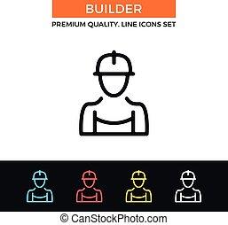 Vector builder icon. Thin line icon