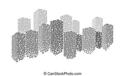 vector building City skyline at night illustration