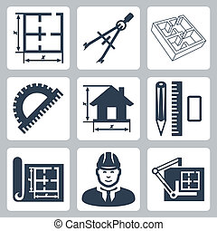 Vector building design icons set: layout, pair of compasses,...