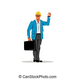 Vector Building Engineer Cartoon Illustration. - Man with a...