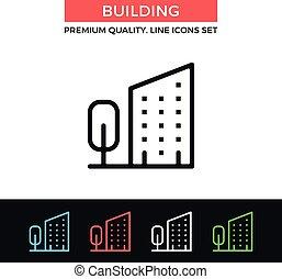 Vector building icon. Thin line icon