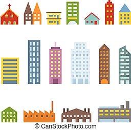 Vector building icons set, flat des