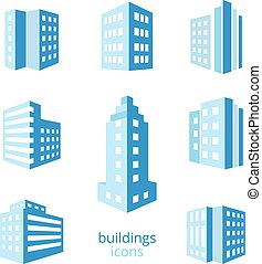 Vector buildings icons. Set of different buildings in blue...