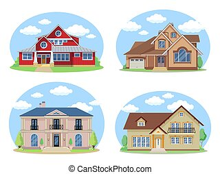 Vector Buildings Set. Flat Design Houses set Isolated on White Background.
