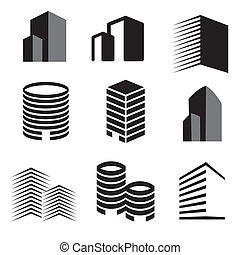 Vector buildings silhouette icons