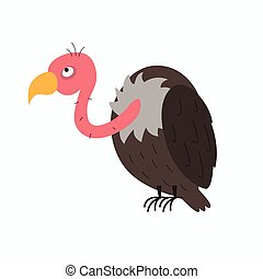 vector, buitre, caricatura, ilustración