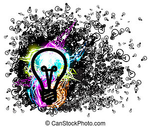 Vector bulb background with shine effects