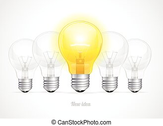 Vector bulb icon with idea concept.