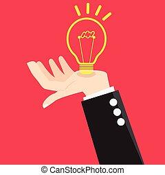 Vector Bulb Light Good Idea in Hand