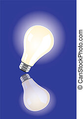 vector bulb lighting on blue background and reflections