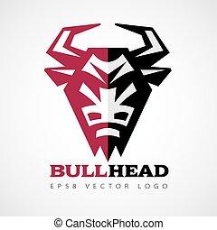 Vector bull head logo - Vector logo with bull head in front...